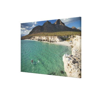 Sea kayaker on the Gulf of California at Isla Canvas Prints
