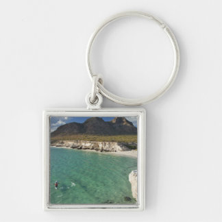 Sea kayaker on the Gulf of California at Isla Silver-Colored Square Key Ring
