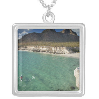 Sea kayaker on the Gulf of California at Isla Square Pendant Necklace