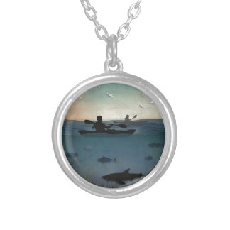 Sea Kayaking Silver Plated Necklace