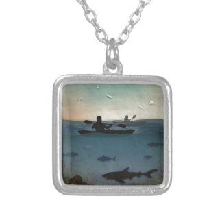Sea Kayaking Square Pendant Necklace