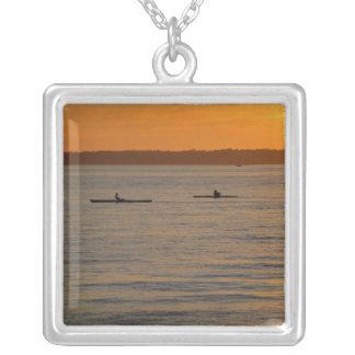 Sea Kayaks Square Pendant Necklace