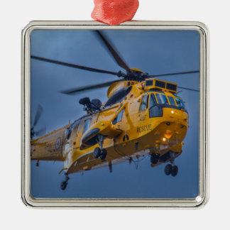 Sea King Rescue Helicopter Silver-Colored Square Decoration