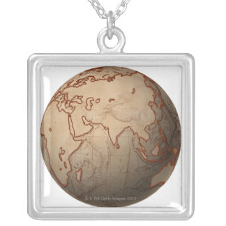 Sea Level Map Silver Plated Necklace