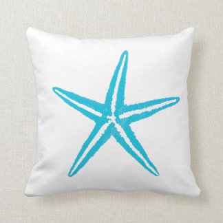Sea Life Aqua Starfish Big Square Throw Pillow