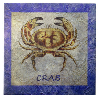 Sea Life Crab on Blue and Cream Tile