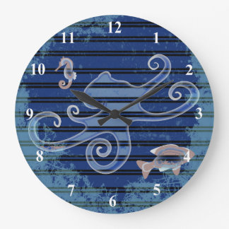 Sea Life Deep Blue Stripe Underwater Collage Large Clock