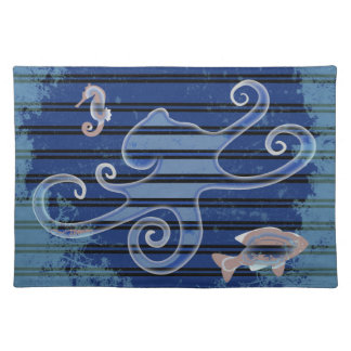 Sea Life Deep Blue Stripe Underwater Collage Placemat
