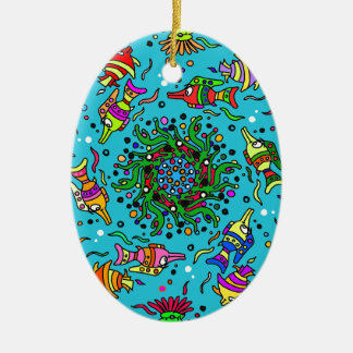 sea life design colorful mandala christmas ornament