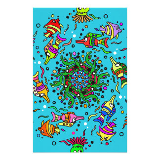 sea life design colorful mandala stationery