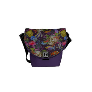 Sea Life Grunge Pattern Courier Bags