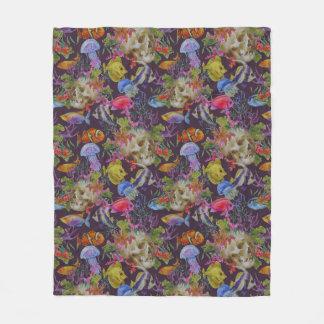 Sea Life Grunge Pattern Fleece Blanket