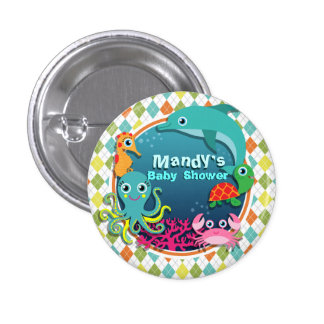 Sea Life on Colorful Argyle; Baby Shower 3 Cm Round Badge