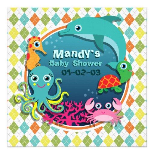Sea Life on Colorful Argyle; Baby Shower Custom Invites