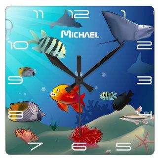 Sea Life Scene Square Wall Clock