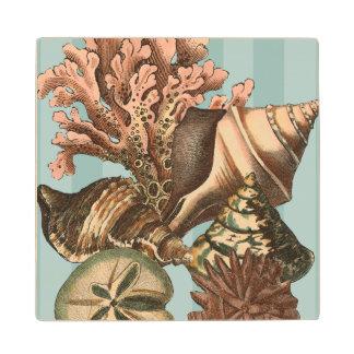Sea Life Silhouette Wood Coaster