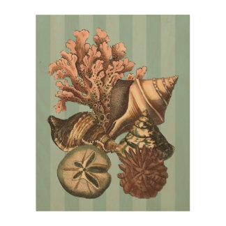 Sea Life Silhouette Wood Print