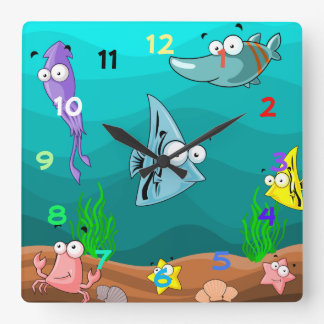 Sea Life Under the Sea with Numbers Square Wall Clock
