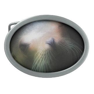 Sea lion Design Oval Belt Buckle
