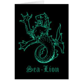 Sea lion medieval heraldry greeting card
