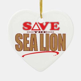 Sea Lion Save Ceramic Heart Decoration