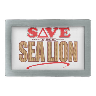 Sea Lion Save Rectangular Belt Buckle