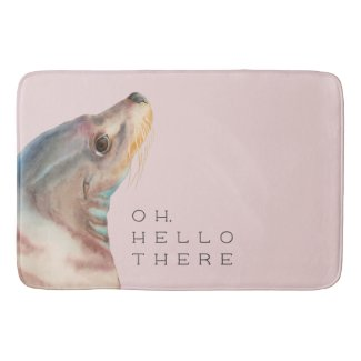Sea Lion Watercolor Art | Hello There Bath Mat