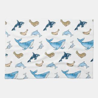 Sea mammals pattern tea towel