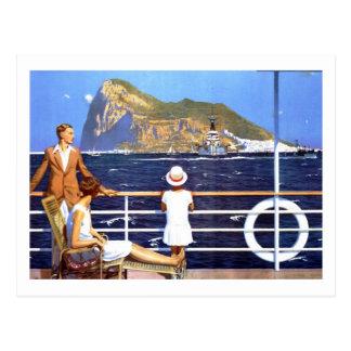 Sea Ocean Cruise Travel to Gibraltar Vintage Postcard