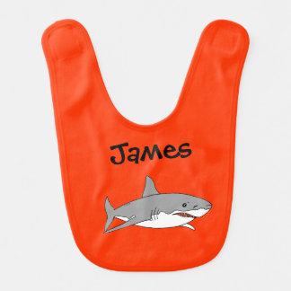 sea ocean grey shark - just add name bibs