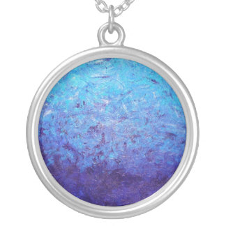 Sea of Blue Silver Plated Round Necklace