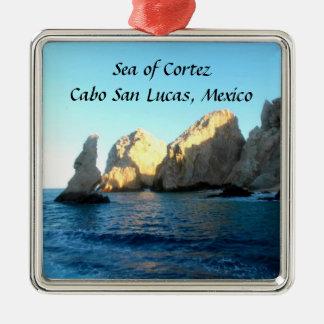Sea of Cortez Cabo San Lucas Mexico Silver-Colored Square Decoration