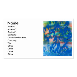 Sea of Hands, Orange and Green on blue Pack Of Standard Business Cards