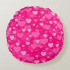 Sea of Hearts on Girly Pink Fuchsia Round Cushion