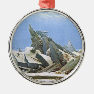 Sea of Ice - Masterpiece Painting by Friedrich Silver-Colored Round Decoration