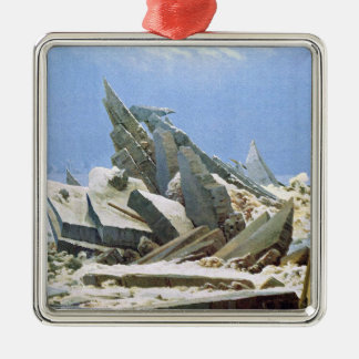 Sea of Ice - Masterpiece Painting by Friedrich Silver-Colored Square Decoration
