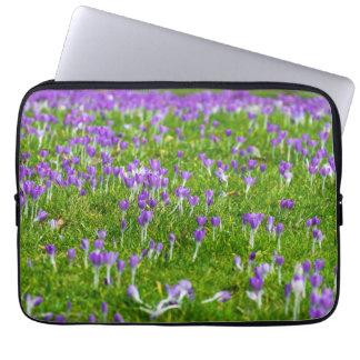 Sea of purple crocuses laptop sleeve