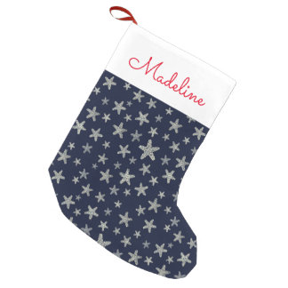 Sea Of Starfish Pattern | Add Your Name Small Christmas Stocking