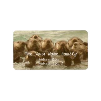 Sea Otter Family Label