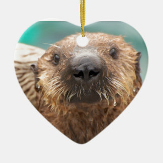 Sea otter love christmas ornament