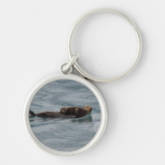 sea otter Silver-Colored round key ring