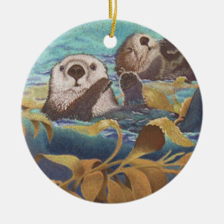 sea otters christmas ornament
