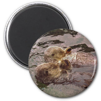 Sea Otters Holding Hands 6 Cm Round Magnet