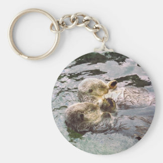 Sea Otters Holding Hands Basic Round Button Key Ring