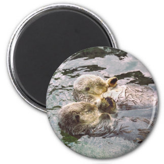 Sea Otters Holding Hands Refrigerator Magnet