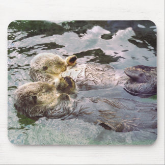Sea Otters Holding Hands Mouse Mat