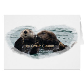 Sea Otters in a heart Card