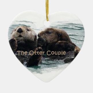 Sea Otters in a heart Ceramic Heart Decoration