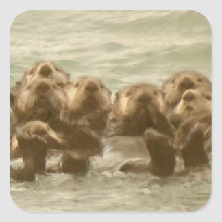 Sea Otters Square Sticker