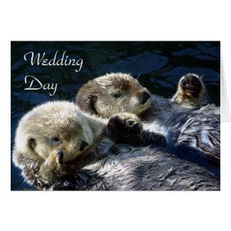 Sea-otters wedding day card